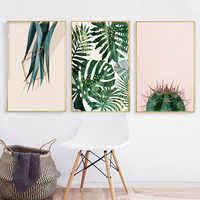 Modern Minimalist Cactus Leaf Plant Poster Nordic Painting Printed Canvas Painting Picture Home Bedroom Wall Art Decoration
