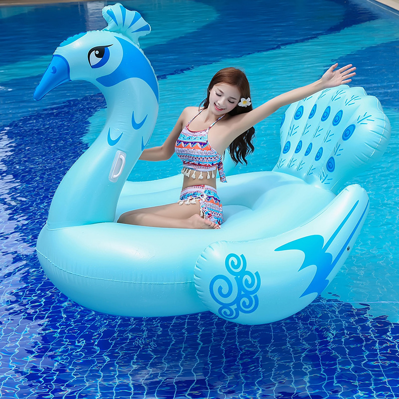 190CM bLUE Peacock Inflatable Pool Float 190cm Giant Swim Ring For Women Men Water Toys Huge Adult Lounger Mattress floating Row