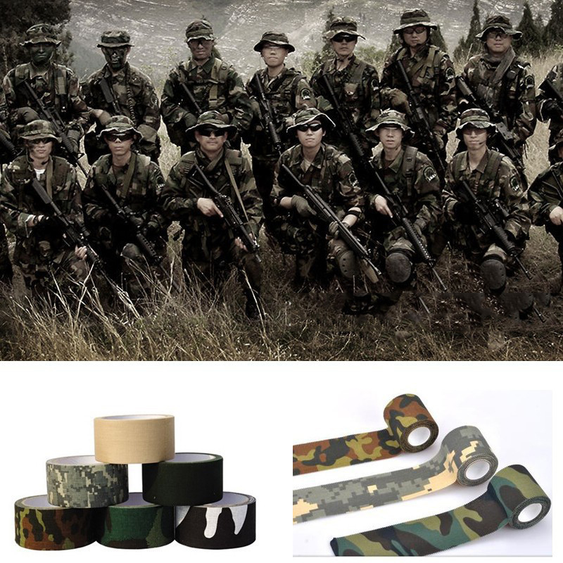 Tactical 4Roll 4.8cm*500cm Camo Stretch Bandage Camping Hunting Camouflage Tape for Cloths Digital stealth camouflage tapes ttgtactical tactical self adhesive camouflage tape elastic camouflage cloth tape 150x30cm hunting rifle protective camo tape