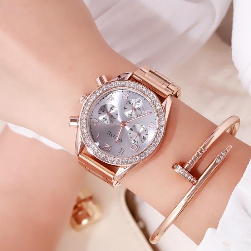 Women Watch GUOU Top Luxury Brand Date Clocks Steel Strap Quartz Date Ladies Watch Reloj Fashion Casual Dress Women Watches steel strap number quartz date watch