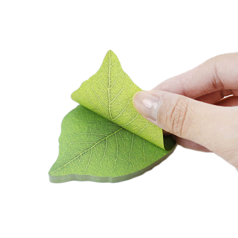 Korean Stationery Cute Green Leaf Shape Memo Pad Sticky Notes Diy Kawaii Refreshing Style Paper Sticker Pads