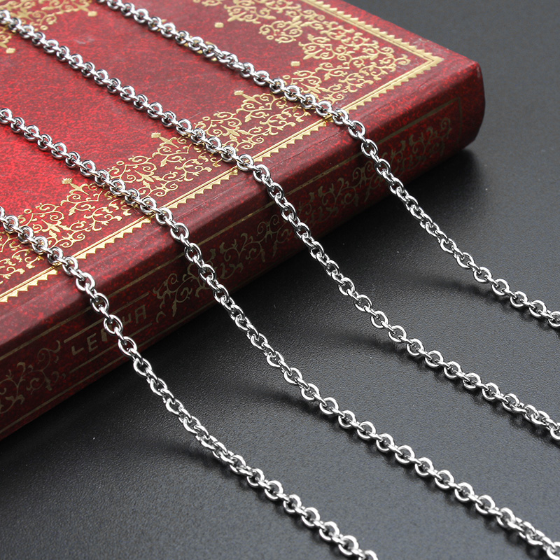 5 yards/packStainless Steel Plated Chain Necklace For Men Women Stainless Steel Chain 2mm width Wholesale DIY Long Chain
