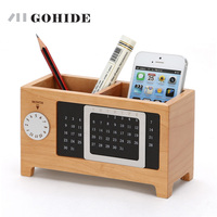 JUH Home Office Storage Box Wooden Stationary Organizer Desktop Calendar Office Organize Pen Pencil Container with Tissue Boxes