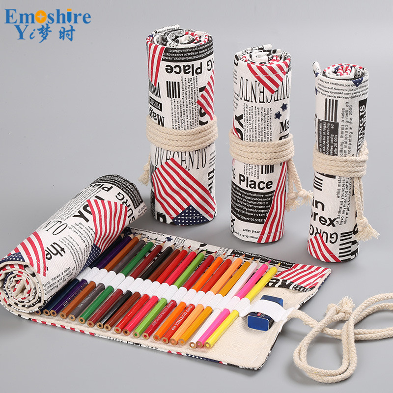 American Flag Handmade Canvas Curtain 12 24 36 48 72 Pen Bag for Students Art Pencil Case Creative Gift Pen Box Pencil Box B304 цена 2017