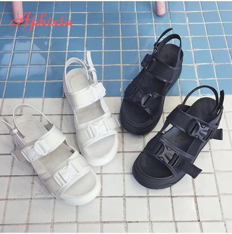 HTB1pyGWX0fvK1RjSspfq6zzXFXaG Aphixta 8cm Platform Sandals Women Wedge High Heels Shoes Women Buckle Leather Canvas Summer Zapatos Mujer Wedges Woman Sandal
