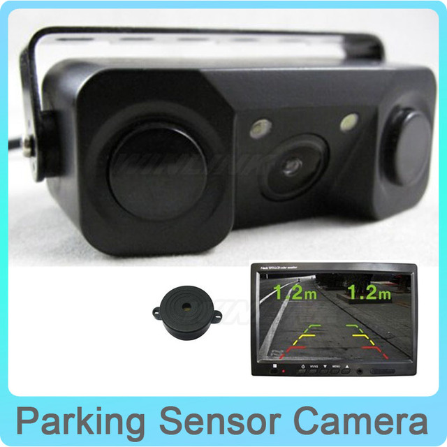 2 in 1 No Drill HD Car CCD Rear View Camera with 2 Parking Sensor Sound Alarm Parking Assistance System Show Image&Distance