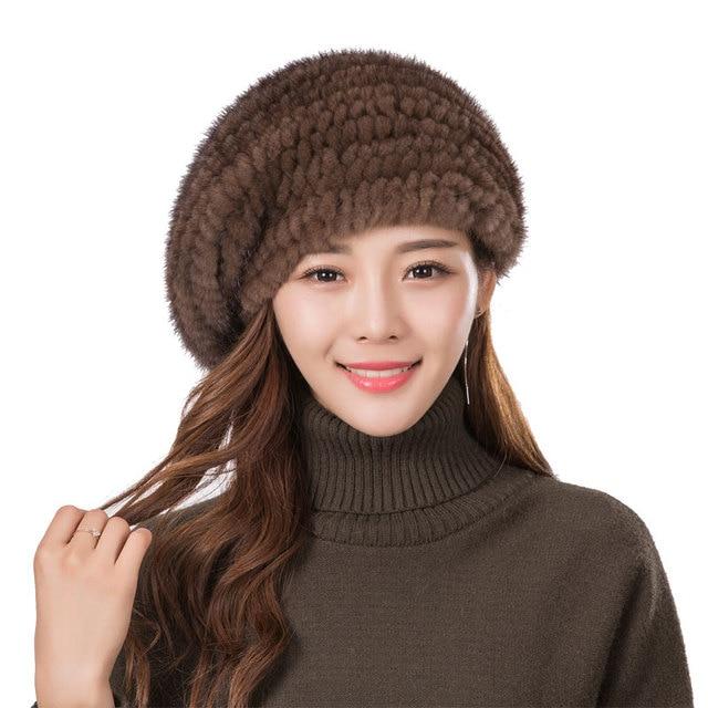 aaeaed4e26 Damskie futro beret kapelusz wysokiej jakości norek czapka z dzianiny moda  ciepłe norek aksamitna dzianiny futro