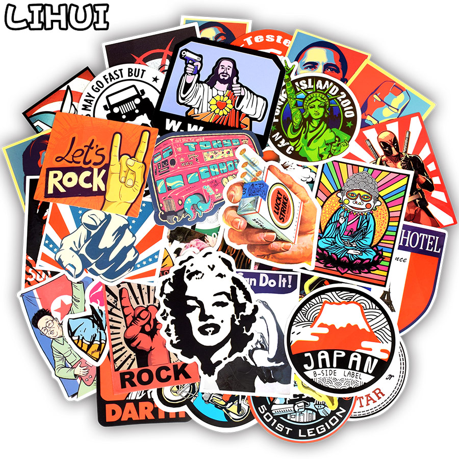 50pcs Retro Style Sticker Graffiti Travel Funny JDM Stickers for DIY Sticker on Suitcase Luggage Laptop Bicycle Skateboard Car ...