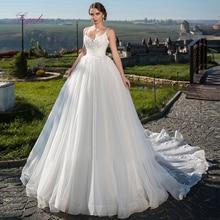 Liyuke 2019 Ball Gown Wedding Dress Lace Up Appliques