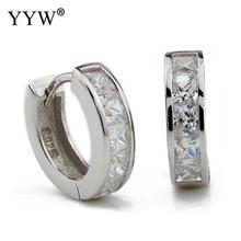 YYW 2017 Fashion 925 logo Silver-color circle huggies hoop earrings for  women small round e09cccc3947c