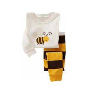Image 2 - Pyjama pour enfant pour garçon et fille, ensemble pour la nuit avec pantalon long et haut à manches longues, imprimés animaux, matière coton