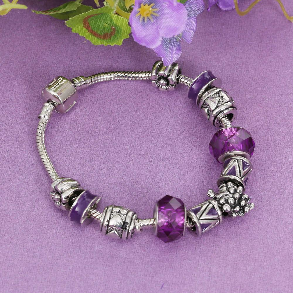Pulseras y brazaletes de plata con cuentas de color púrpura Legenstar para mujer con cuentas de uva Murano DIY joyería Original pulsera de Navidad