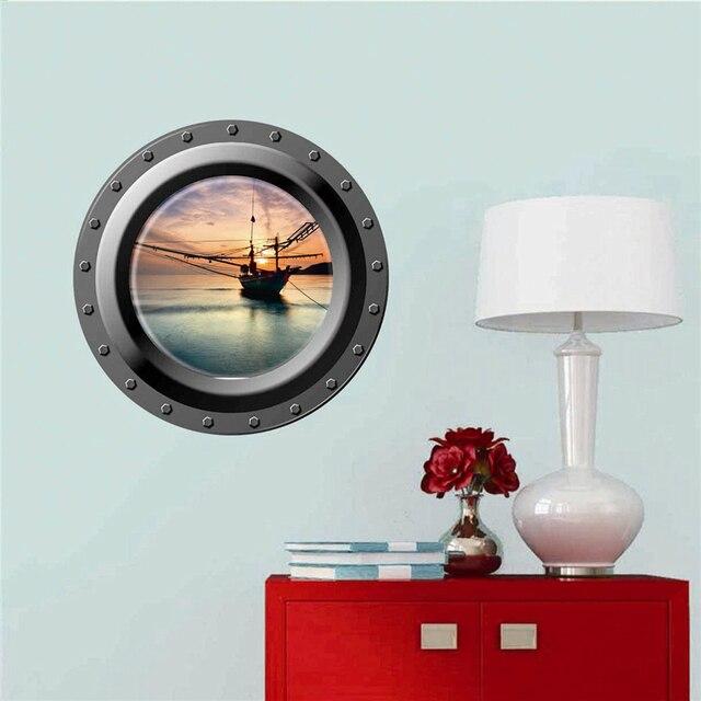 3d Smiling Big Shark Nemo Dory Submarine Portholes Windows Wall Stickers For Washing Machine Decoration Diy Wall Decals Art
