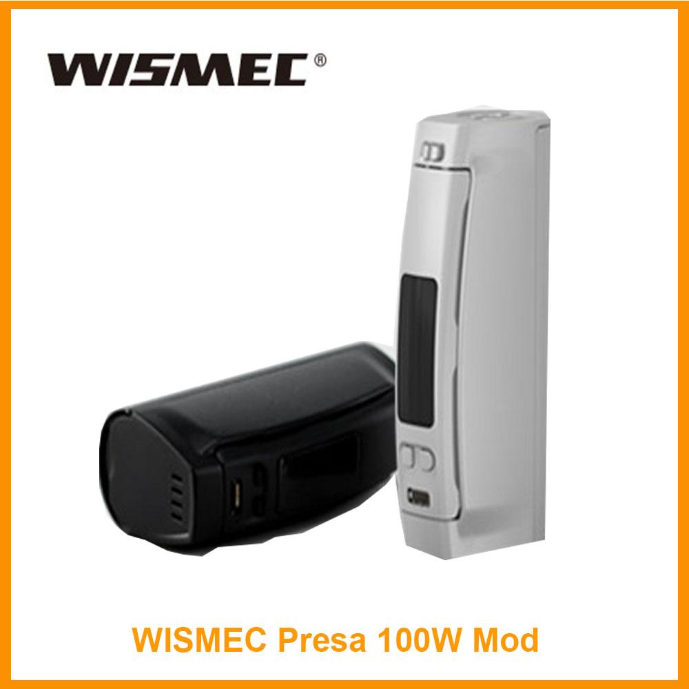 Prix pour 100% d'origine wismec presa tc 100 w mod système de contrôle de la température 100 w extensible firmware 18650/26650 0.96 pouce oled