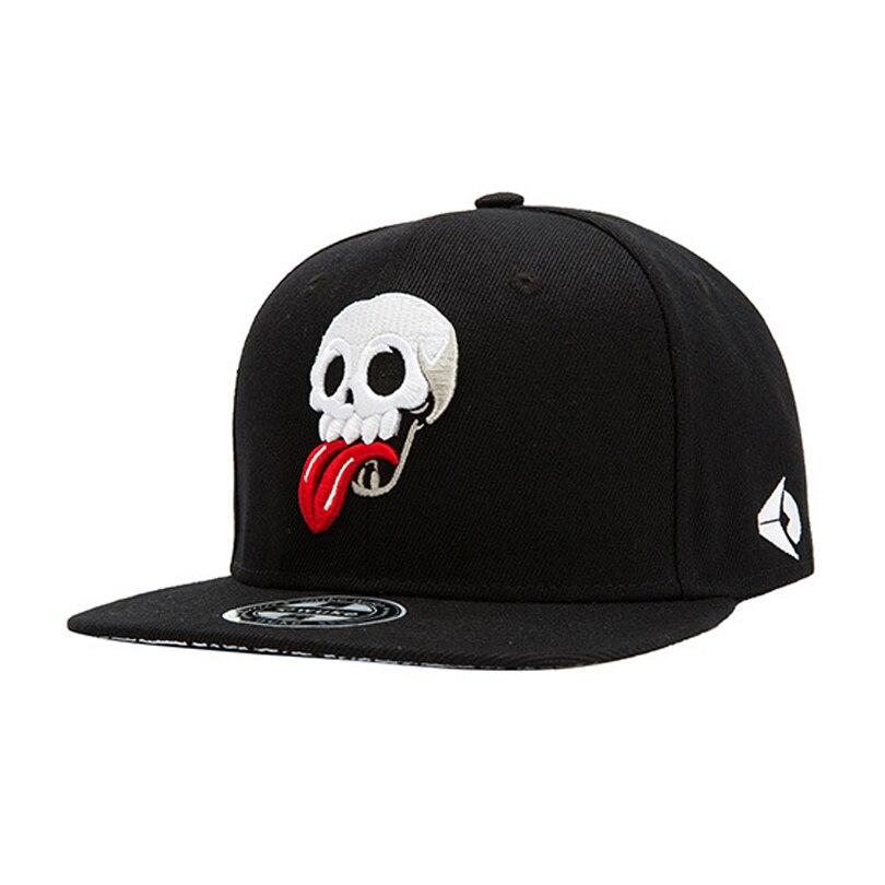 00fad5b81fe Super cool flat brim skull casual hiphop snapback sport adjustable baseball  cap for men women 540-in Baseball Caps from Men s Clothing   Accessories