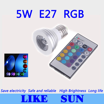 Free shipping 10pcs/lot 5W RGB Lamp 16type colors E27 AC95-265V LED Light Spotlight Bulb Lamp with Remote Controller
