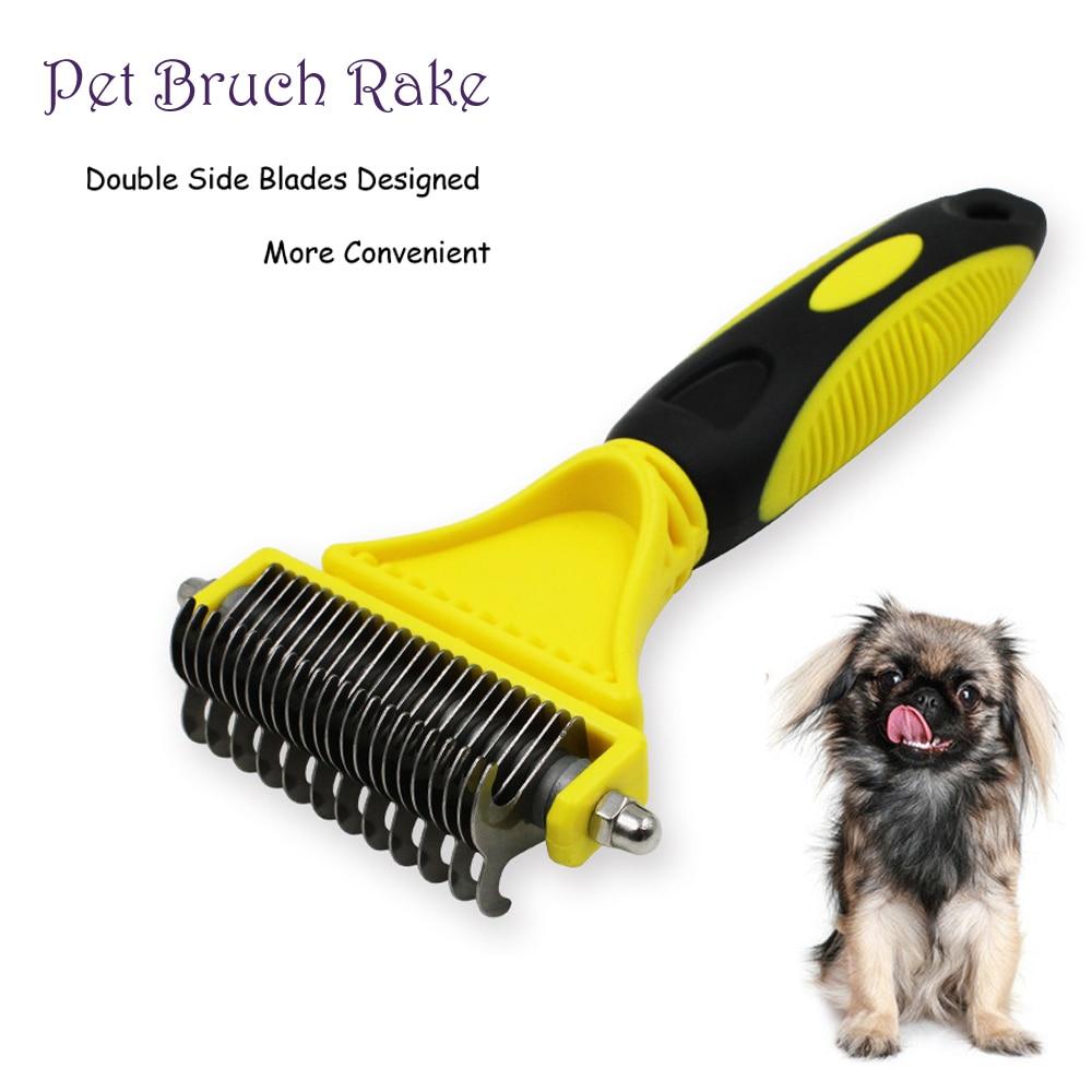 double-side-dog-brush-comb-dematting-matbreaker-cat-rake-deshedding-trimmer-pet-animal-grooming-fur-shaver-tool-1123-blades