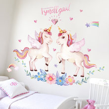 Cute Unicorn Flamingo Wall Stickers for Kids Rooms Bedroom Decor DIY Poster Cartoon Animal Wallpaper Stickers on the Wall(China)