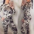 2016 de la manera Mujeres Traje Chándal Sudaderas y Pantalones de Camuflaje 2 Unidades Set Señoras Militar traje de sudor