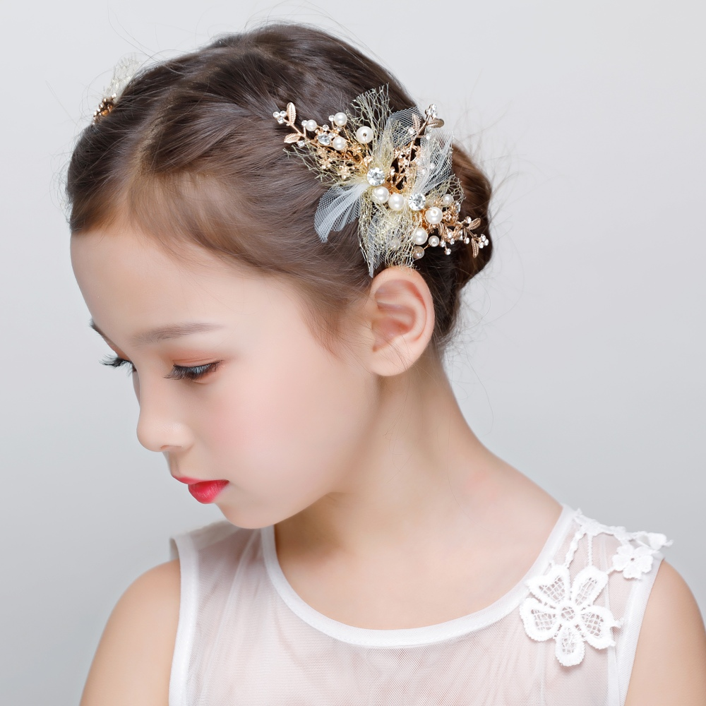 One Pair Golden Color Hair Clips Wedding Accessories Girl Barrettes Handmade Hair Jewelry Teens ...