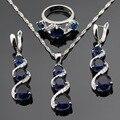 Conjuntos de Jóias na moda Azul Criado Sapphire Anéis de Noivado Para As Mulheres De Cor Prata Brincos de Pingente de Colar Caixa de Presente