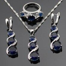 Sistemas de la Joyería de moda Azul Creado Sapphire Para Las Mujeres Compromiso Color Plata Collar Colgante Anillos de Regalo