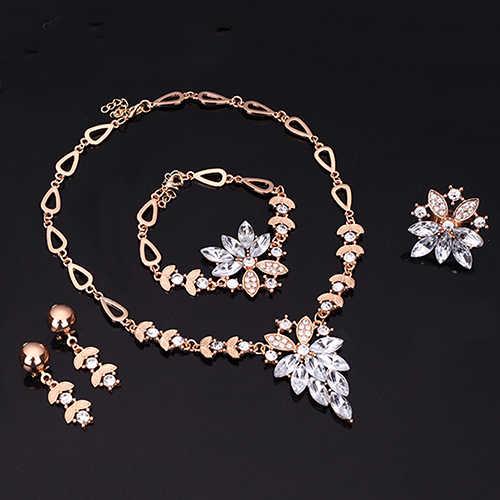 แฟชั่นผู้หญิงสร้อยข้อมือสร้อยคอดูไบ Gold ชุดเครื่องประดับคริสตัลแหวนต่างหูวันวาเลนไทน์