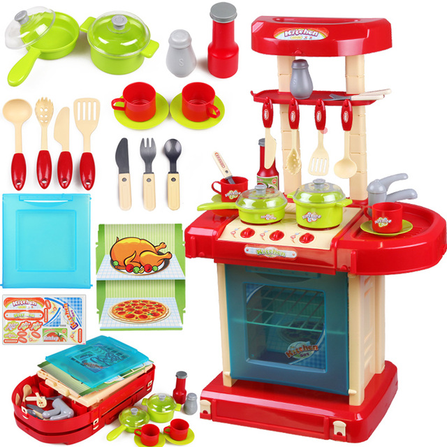 Hot Child Kitchen Toys Baby Cooking Tableware Learning Children Pretend Play Set
