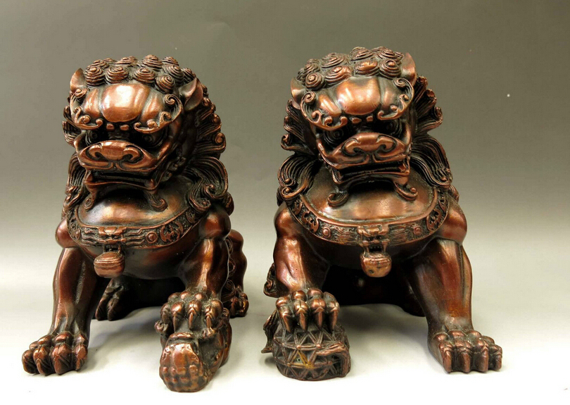 A Pair Fengshui Brass Chinese Bronze Copper Feng shui Animal FOO Dog Lions sculpture Statue Lion 2pcs Garden Decoration Bronze