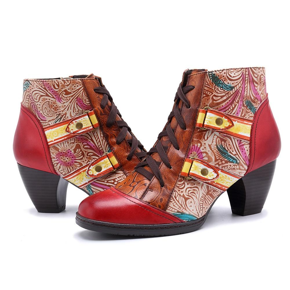 MStacchi خمر عالية الكعب أحذية حريمي برقبة الرجعية البوهيمي مطبوعة جلد طبيعي حذاء من الجلد أحذية امرأة الربيع الخريف بوتاس-في أحذية الكاحل من أحذية على  مجموعة 3