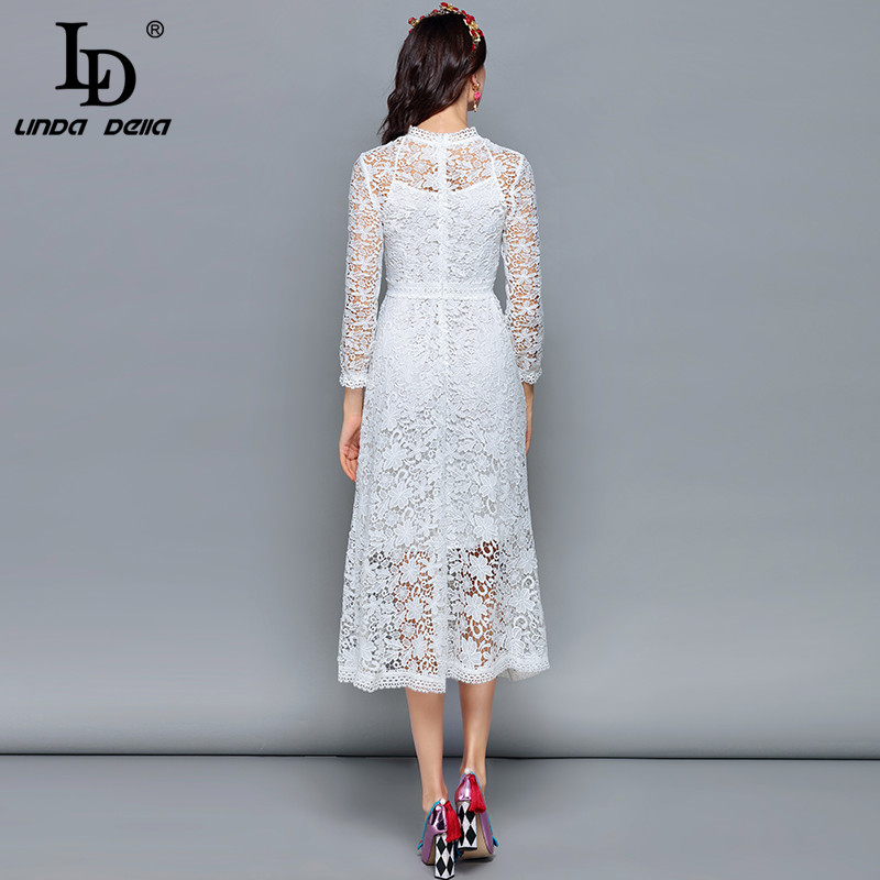 Ld linda della 패션 디자이너 가을 드레스 여성 긴 소매 중공 레이스 꽃 자수 미디 화이트 우아한 드레스-에서드레스부터 여성 의류 의  그룹 3