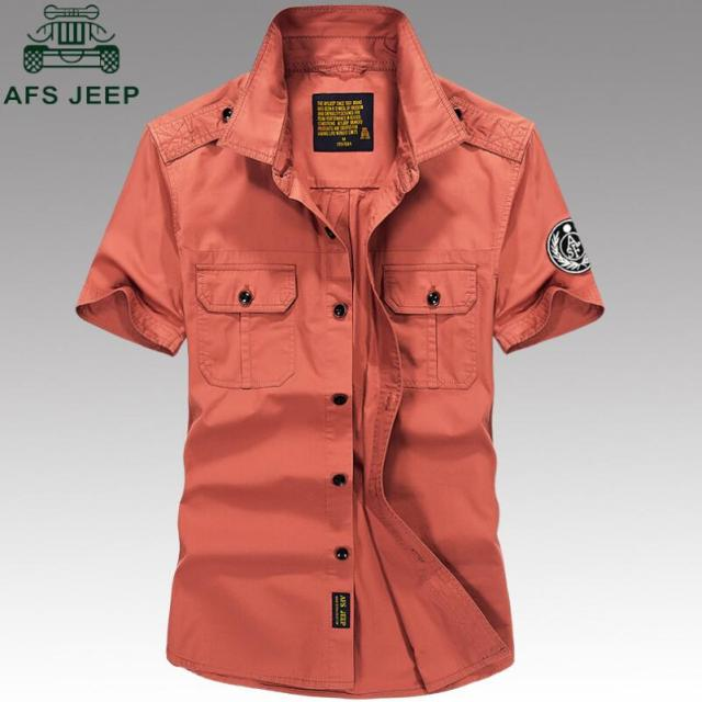 e261d5e317 AFS JEEP Summer Casual Dress Shirt 2018 Casual Army Military Shirt Men  Short Sleeved 100 Cotton
