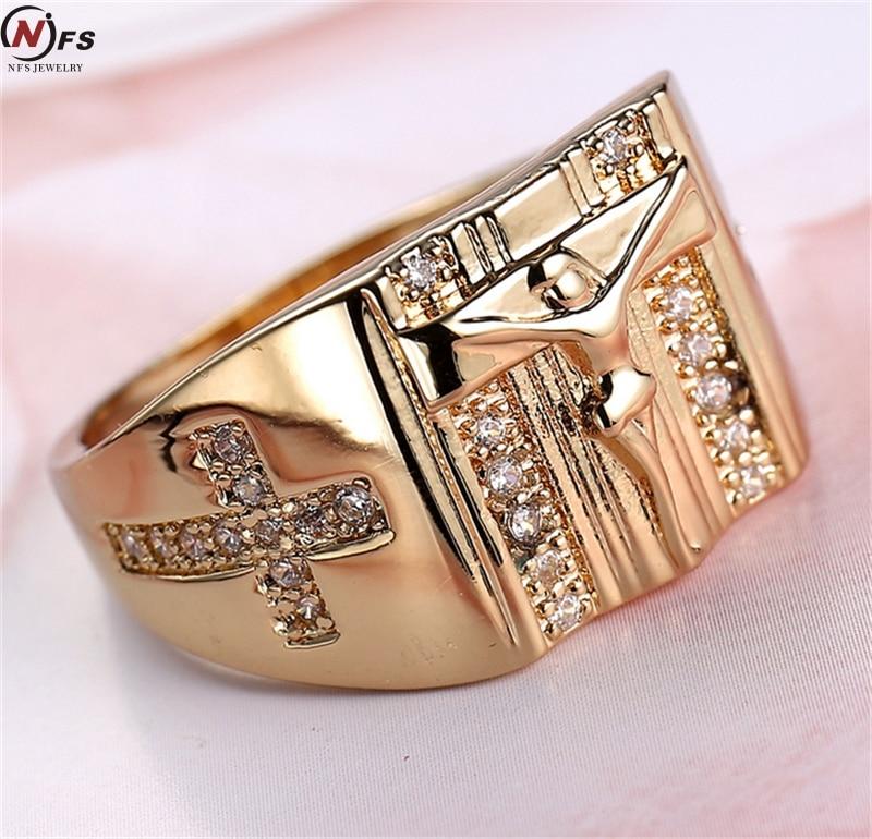 Vintage Gold Holy Cross Signet Ring Prayer Christian Jesus Gold Rings White Cub Zirconia Wedding Finger Ring
