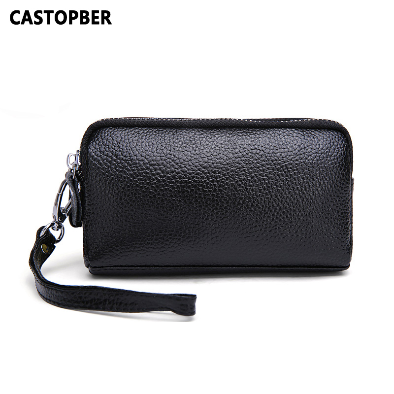 Double Zipper Purse Women Split Leather Coin Purses Small Purse Female Small Bag For Girl Day Clutch Wallet Mobile Phone Bags image