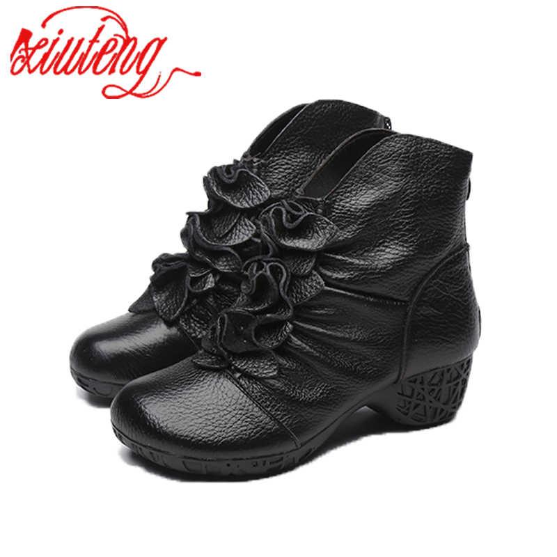 Xiuteng 2019 Winter Mode Vrouwen Echt Lederen Laarzen Handgemaakte Vintage Bloem Enkel Botines Koe Lederen Schoenen Met