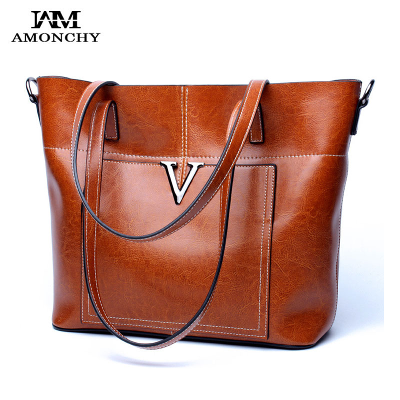 AMONCHY Brand Women Genuine Leather Bags Designer Tote Bag Large Shopping Shoulder Bag Casual V Letter Ladies Handbags 2018 Hot [whorse] brand high quality women genuine leather shoulder bags cowhide ladies casual tote bag large capacity wa5054 7