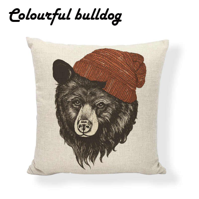 Capa de Almofada Presente do Dia das mãe Estúpido Urso Bonito Tiger Árvore Óculos Chapéu de Bancos de Jardim Casa Sacos de Feijão Sofá Decorar pillowcover