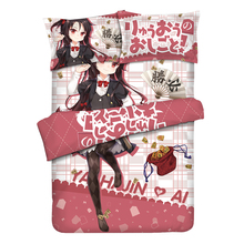 Yashajin_Ai Anime Linens Bedding Set Cama Satin Bed Sheets Queen Size Comforter Sets Dekbedovertrek 240/220