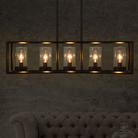 American Country Hanging Lamps Vintage Long 5 Candle Pendant Lights Home Restaurant Dining Room Cafes Coffee Bar Metal Droplight