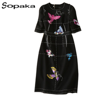 SOPAKA High Quality Black Sequins Bird Embroidery Runway Designer Midi Women Dress Short Sleeve Spring Autumn