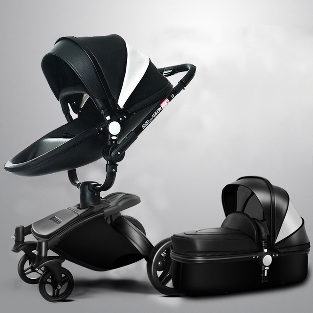 Aulon 3 in 1 baby stroller leather two-way shock absorbers baby car cart trolley Europe pram  folding four wheels baby stroller