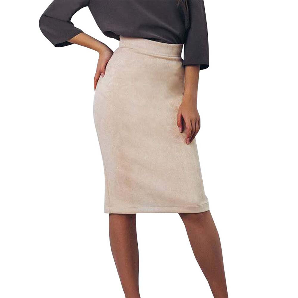 SAGACE skirts Women Fashion Solid Slim long Pencil skirt sexy High Waist Pencil Zippers Knee-Length party Skirt 19fashion 424