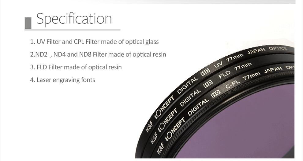 UV CPL FLD ND2 ND4 ND8 Lens Camera Filter Kit(52 58 62 67 72 77mm)+Lens Hood+Lens Cap+Cloth For Canon for Nikon for Sony etc. 5