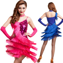 2016 Hot Selling Brand New Cheap Latin Dance Fringe Costumes for Women Latin Ballroom Dress on sale 4 colors