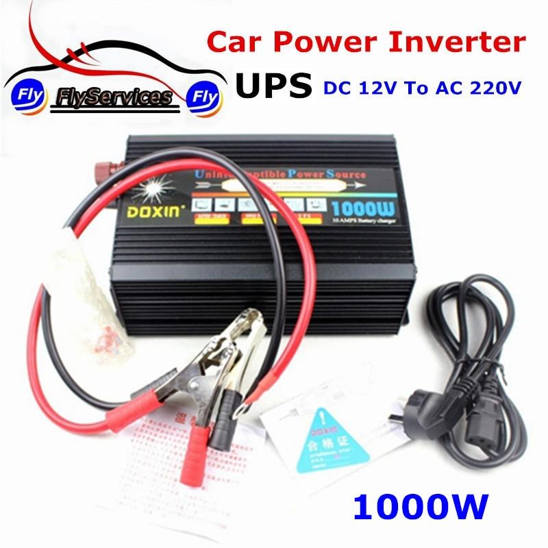 Новое поступление ИБП 1000 Вт Инвертор с зарядное устройство для нескольких устройств постоянного тока в переменный 12 В 220 В Инвертор силы автомобиля питания Автомобильное зарядное устройство