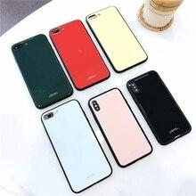 Анти-осень закаленное стекло чехол для телефона для iphone 6 7 plus/8/6s/X простой сплошной цвет личности (зеленый/красный/желтый/белый)