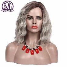MSIWIGS סינטטי אדום פאות עבור נשים קצר פאת שיער מתולתלת Ombre אפר כהה שורש טבעי שיער חום עמיד