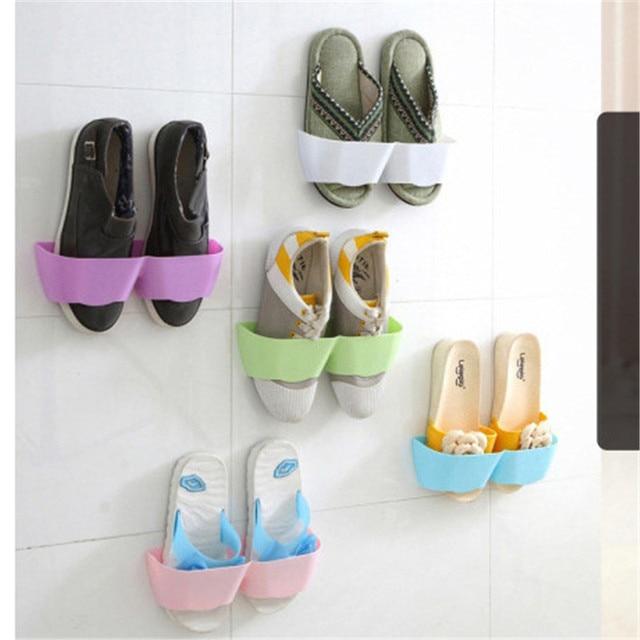1pc Sticky Hanging Shoes Rack Shelf Wall Mounted Shoe Holder Hook Organizer Storage Racks E