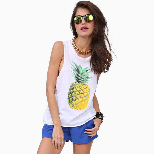 2017 European and American wild new sexy urban chic comfort influx of people round neck tops printing vest pineapple shirt 058