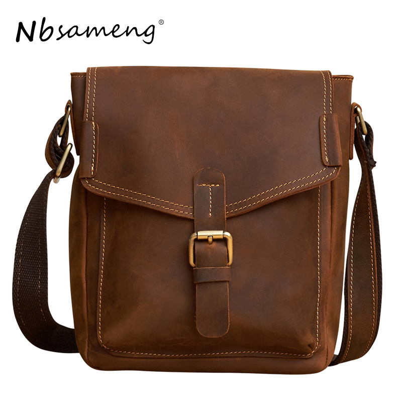 Фотография NBSAMENG New Fashion Men Genuine Cowhide Leather Messenger Bags Man Vintage Bag Business Tote Briefcases Casual Handbag